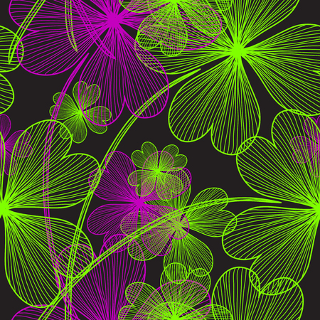 elegant seamless pattern with decorative four leaf lucky clovers, design element Vector