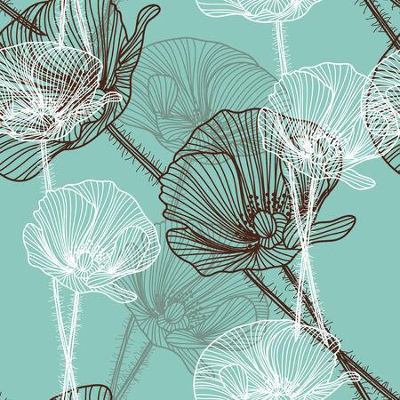 elegant seamless pattern with decorative poppy flowers, design element Vector