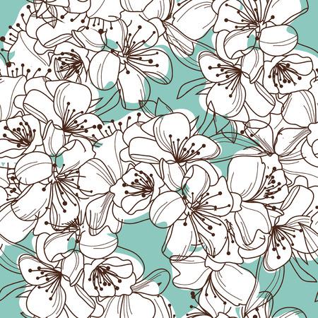 elegant naadloos patroon met decoratieve kersenbloesem, design element Stock Illustratie