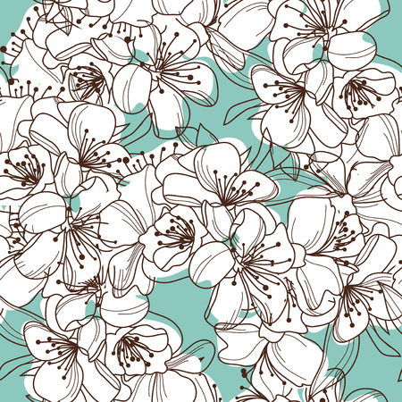 elegant seamless pattern with decorative cherry blossom, design element
