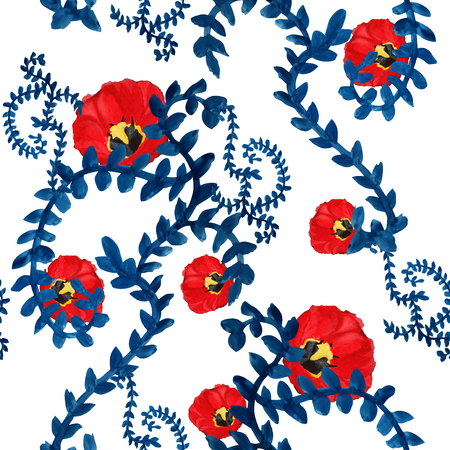 elegant seamless pattern with decorative blue leaves and red tulips, watercolor painted, design element photo