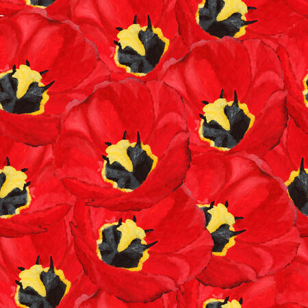 elegant seamless pattern with beautiful red tulips, oil painting, design element photo