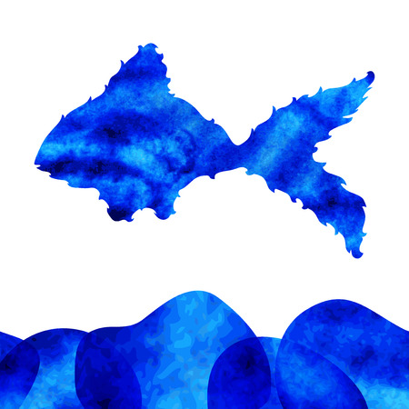 decorative watercolor fish with blue water, design element Illustration
