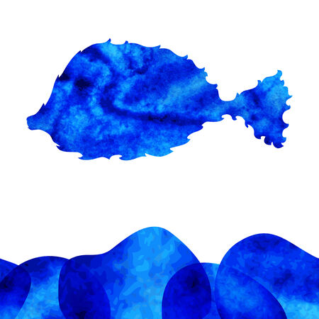 seafish: watercolor decorative fish with blue water Illustration