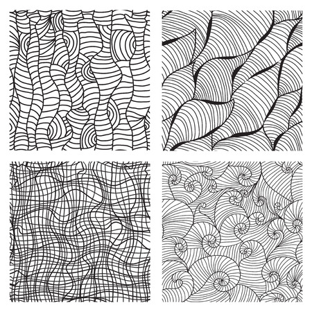 white wallpaper: set of 4 elegant seamless patterns with decorative waves, wood texture and grid imitation. Design elements. Black and white wallpaper, background Illustration