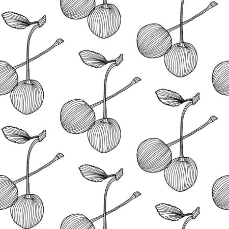 elegant seamless pattern with decorative cherries, design element  Healthy food background Vector