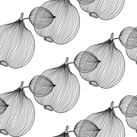 quince: elegant seamless pattern with decorative quince fruits, design element  Healthy food background Illustration