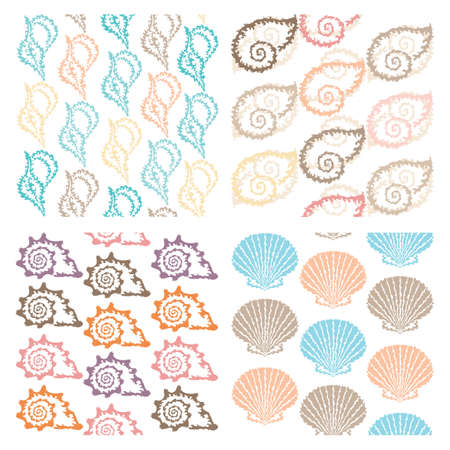 set of 4 elegant seamless patterns with decorative seashells, design elements  Sea, marine life, vacation background Vector