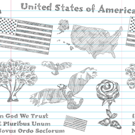 elegant seamless pattern with principal symbols of United States of America, map, flag and slogan. Design element Vector