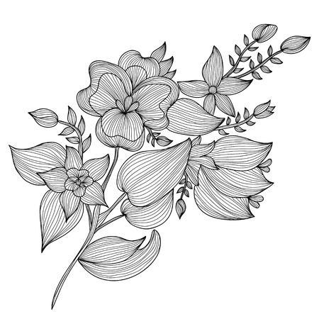 Elegant decorative flowers, design element. Floral branch. Floral decoration for vintage wedding invitations, greeting cards, banners. Vector