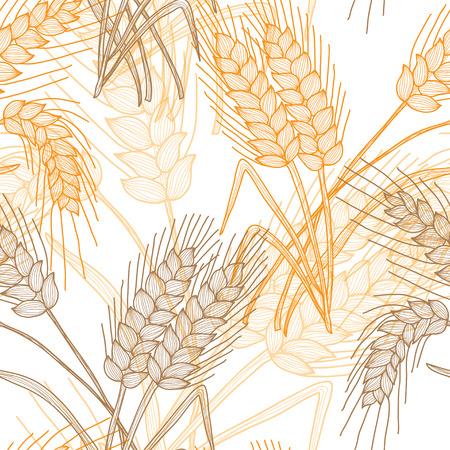 装飾的な小麦の植物、デザイン要素とエレガントなシームレスなパターン。招待状、グリーティング カード、スクラップ ブック、プリントの花柄。
