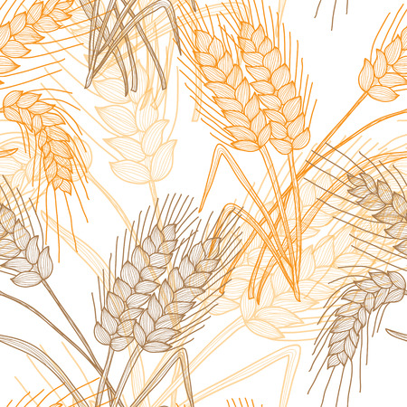 Elegant seamless pattern with decorative wheat plants, design element. Floral pattern for invitations, greeting cards, scrapbooking, print. Agriculture theme.