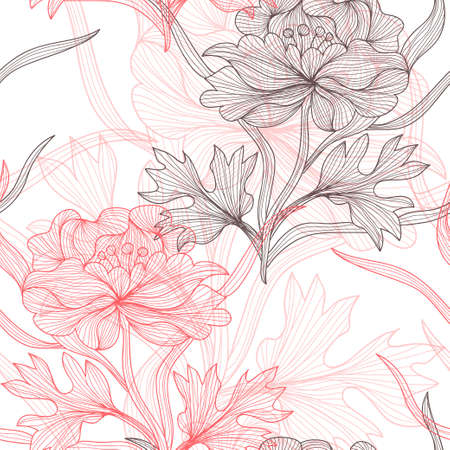 Elegant seamless pattern with decorative pastel peony flowers, design element. Beautiful floral background. Floral pattern for wedding invitations, greeting cards, scrapbooking, print. Vector