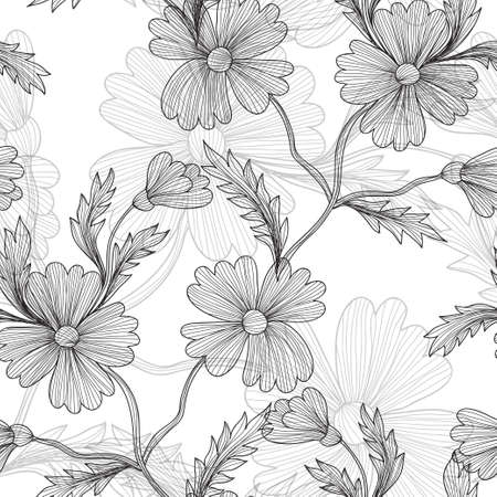 Elegant seamless pattern with decorative vintage cornflowers, design element. Beautiful floral background. Floral pattern for wedding invitations, greeting cards, scrapbooking, print. Vector