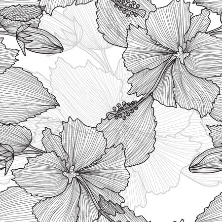 Elegant seamless pattern with decorative vintage hibiscus flowers, design element. Beautiful floral background. Floral pattern for wedding invitations, greeting cards, scrapbooking, print. Vector