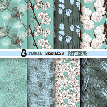 iris flower: Set of 8 elegant seamless patterns with hand drawn decorative flowers, design elements  Beautiful floral backgrounds  Floral patterns for wedding invitations, greeting cards, scrapbooking, print, gift wrap, manufacturing