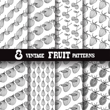 food backgrounds: Set of 8 elegant seamless patterns with decorative vintage fruits, design elements  Abstract food backgrounds  Patterns for invitations, greeting cards, scrapbooking, print, gift wrap, manufacturing  Food theme Illustration
