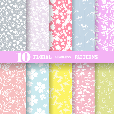 Set of 10 elegant seamless patterns with hand drawn decorative flowers, design elements  Beautiful floral backgrounds  Floral patterns for wedding invitations, greeting cards, scrapbooking, print, gift wrap, manufacturing  Vector
