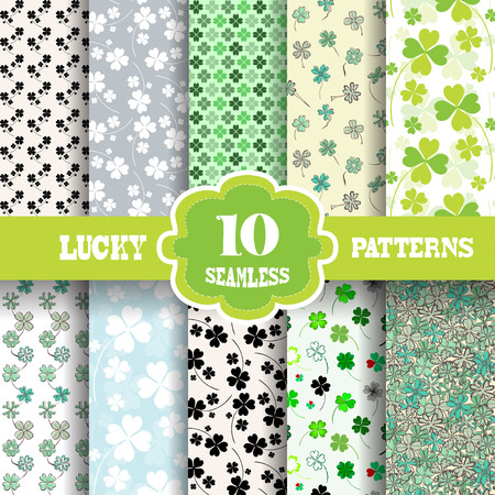 Set of 10 elegant seamless patterns with decorative four leaf lucky clovers, design elements. Lucky patterns for wedding invitations, greeting cards, scrapbooking, print, gift wrap, manufacturing. St Patricks day backgrounds Vector