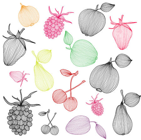 set of decorative fruits, design elements