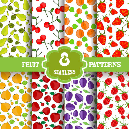 food backgrounds: Set of 8 elegant seamless patterns with decorative fruits, design elements. Fruit patterns for invitations, greeting cards, scrapbooking, print, gift wrap, manufacturing. Food backgrounds