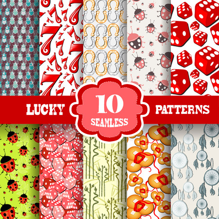 principal: Set of 10 lucky seamless patterns with principal symbols of luck, design elements. Lucky patterns for invitations, greeting cards, scrapbooking, print, gift wrap, manufacturing.