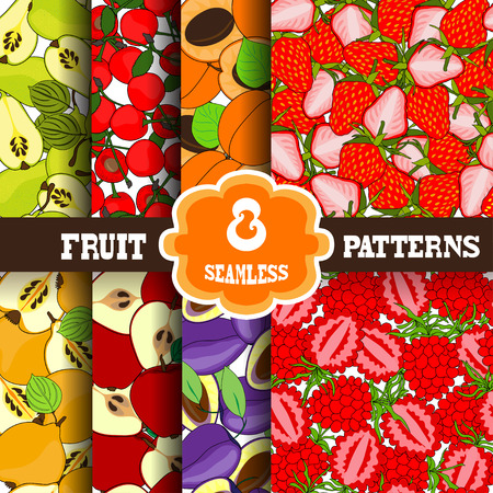 Set of 8 elegant seamless patterns with decorative fruits, design elements. Fruit patterns for invitations, greeting cards, scrapbooking, print, gift wrap, manufacturing. Food backgrounds Vector