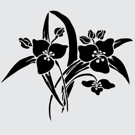 Elegant decorative lily flowers, design element. Floral branch. Floral decoration for vintage wedding invitations, greeting cards, banners. Vector