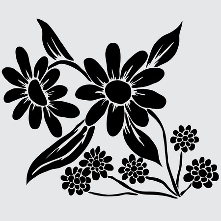 Elegant decorative camomiles, design element. Floral branch. Floral decoration for vintage wedding invitations, greeting cards, banners. Vector