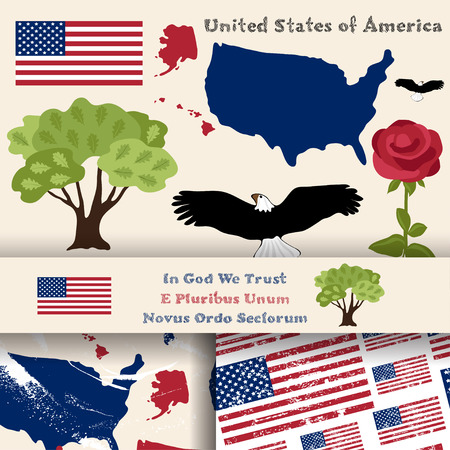in god we trust: Set of principal symbols of United States of America, map, flag and slogan. 2 seamless patterns with american flag and map.