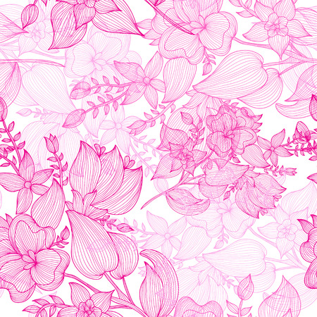 Elegant seamless pattern with hand drawn decorative pink flowers, design elements. Floral pattern for wedding invitations, greeting cards, scrapbooking, print, gift wrap, manufacturing.