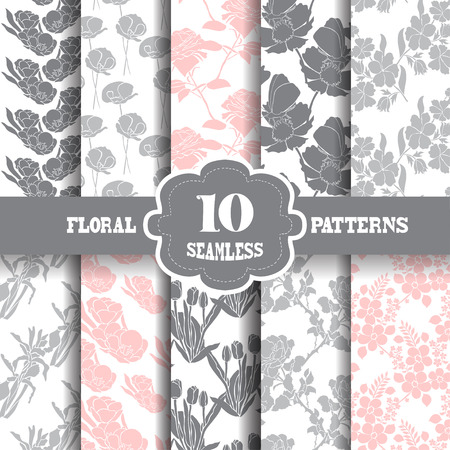 iris flower: Set of 10 elegant seamless patterns with hand drawn decorative flowers, design elements. Floral patterns for wedding invitations, greeting cards, scrapbooking, print, gift wrap, manufacturing.