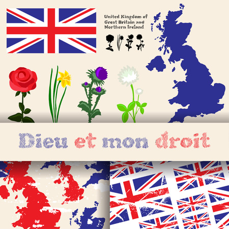 nothern ireland: set of floral symbols of United Kingdom of Great Britain and Northern Irelans, flag, map and slogan. Rose, daffodil, thistle and white clover. 2 seamless patterns with english flag and map