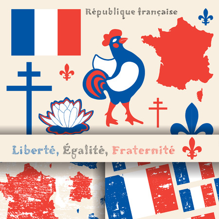 french culture: set of principal symbols of French Republic, flag, map and slogan. 2 seamless patterns with french flag and map
