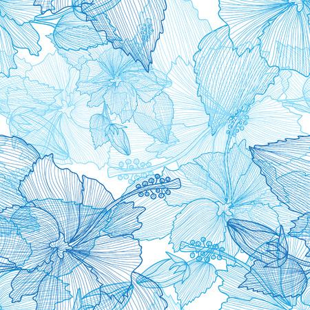 Seamless pattern élégant avec dessinés à la main des fleurs d'hibiscus décoratifs, des éléments de conception. Motif floral pour les invitations de mariage, cartes de voeux, scrapbooking, impression, papier cadeau, de la fabrication.