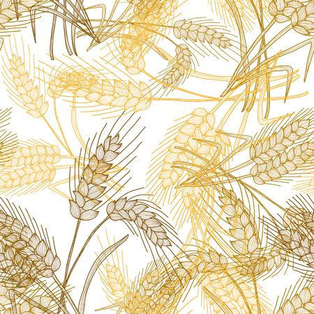 endless repeat structure: Elegant seamless pattern with hand drawn decorative wheat plants, design elements. Floral pattern for invitations, greeting cards, scrapbooking, print, gift wrap, manufacturing. Agriculture theme.