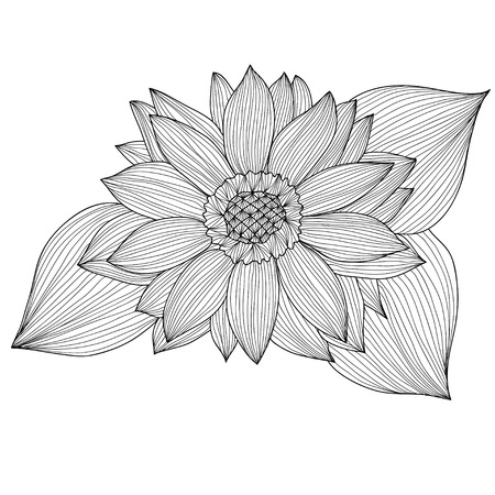 Elegant decorative sunflower, design element. Floral branch. Floral decoration for vintage wedding invitations, greeting cards, banners. Vector