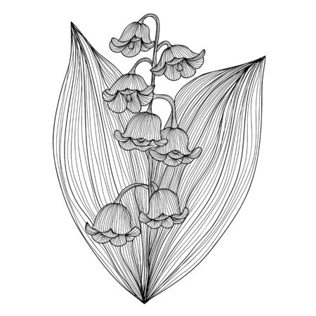 od: Elegant decorative lily od the valley flowers, design element. Floral branch. Floral decoration for vintage wedding invitations, greeting cards, banners.