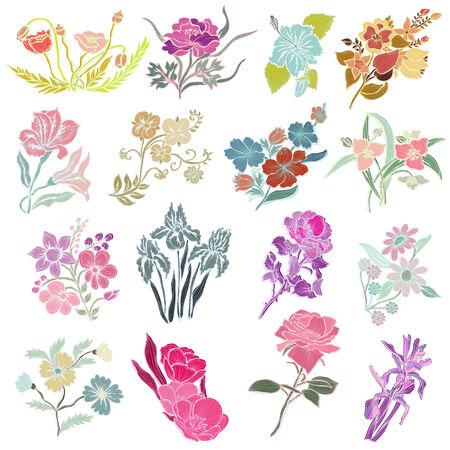 16 elegant decorative flowers, design elements. Floral branches.   Vector