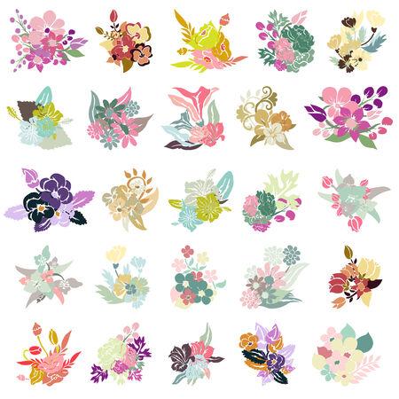 25 elegant floral bouquets, design elements.   Vector