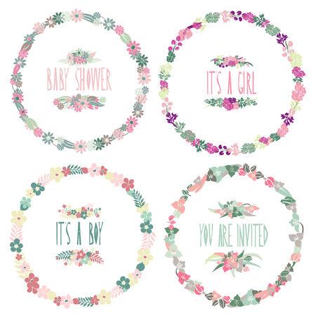 Elegant floral frames, design elements.   Vector
