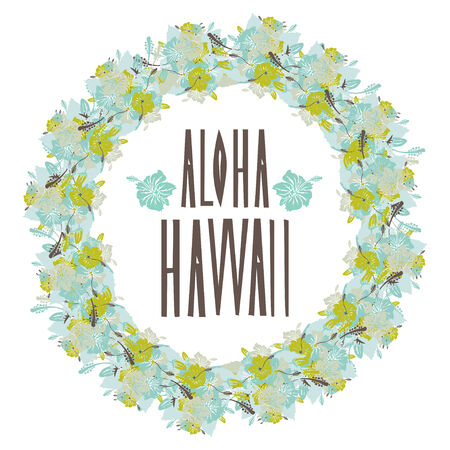 Elegant floral aloha hawaii wreath with hibiscus flowers, design element. Vintage decorative flowers. Vector