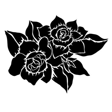 Elegant decorative gardenia flowers, design element. Floral branch.  Vector