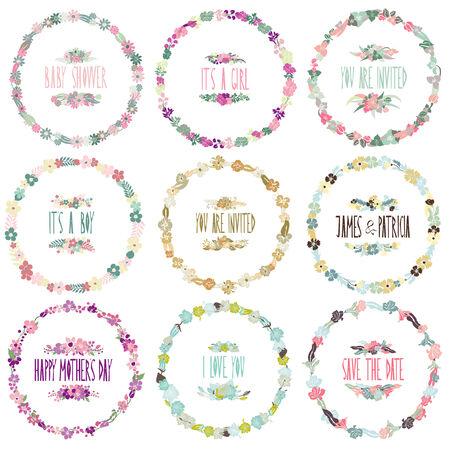 9 elegant floral frames, design elements Vector