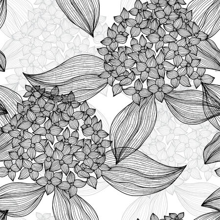 Elegant seamless pattern with hand drawn decorative hydrangea flowers, design elements. Floral pattern for wedding invitations, greeting cards, scrapbooking, print, gift wrap, manufacturing. Vector