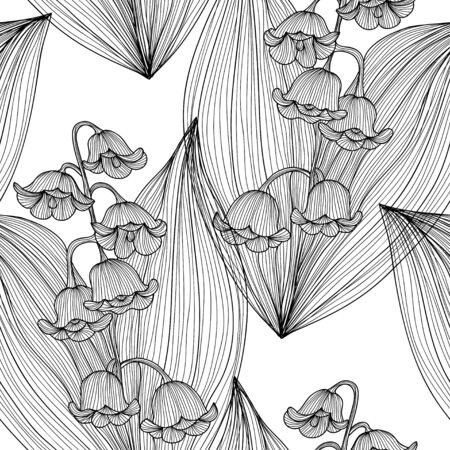 Elegant seamless pattern with hand drawn decorative lily of the valley flowers, design elements. Floral pattern for wedding invitations, greeting cards, scrapbooking, print, gift wrap, manufacturing. Vector