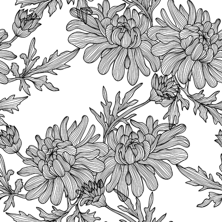 Elegant seamless pattern with hand drawn decorative chrysanthemum flowers, design elements. Floral pattern for wedding invitations, greeting cards, scrapbooking, print, gift wrap, manufacturing. Vector