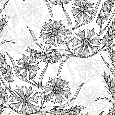 Elegant seamless pattern with hand drawn decorative cornflowera and wheat, design elements. Floral pattern for wedding invitations, greeting cards, scrapbooking, print, gift wrap, manufacturing. Vector