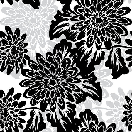 Elegant seamless pattern with hand drawn decorative gerbera flowers, design elements. Floral pattern for wedding invitations, greeting cards, scrapbooking, print, gift wrap, manufacturing. Vector
