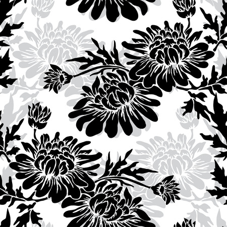 Elegant seamless pattern with hand drawn decorative chrysanthemum flowers, design elements. Floral pattern for wedding invitations, greeting cards, scrapbooking, print, gift wrap, manufacturing.
